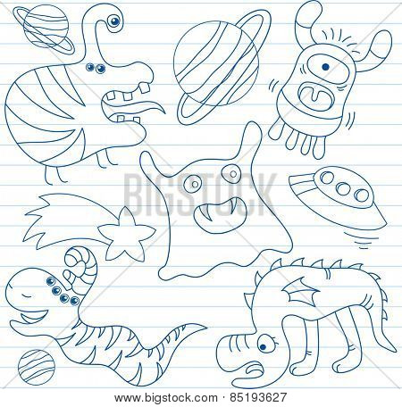 Vector set of aliens and monsters. Sketch on notebook page