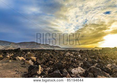 Sunset At Timanfaya Volcanic National Park In Lanzarote