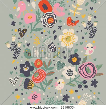 Vintage floral seamless pattern with birds and flowers. Romantic background in vector can be used for wallpaper, web page backgrounds, surface textures. Gorgeous seamless floral background