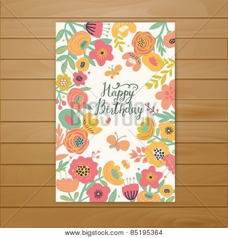 Fabulous happy birthday card in vector. Stylish floral poster in bright summer colors. Butterflies and stylish poppy flowers in awesome background