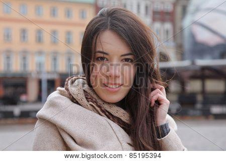 Beautiful young woman in Riga, Latvia