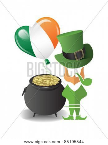 Digitally generated St patricks day vector with pot of gold