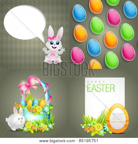 vector funky set of easter background with beautiful basket and space for your text