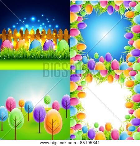 vector bunch of easter background with colorful tree and egg