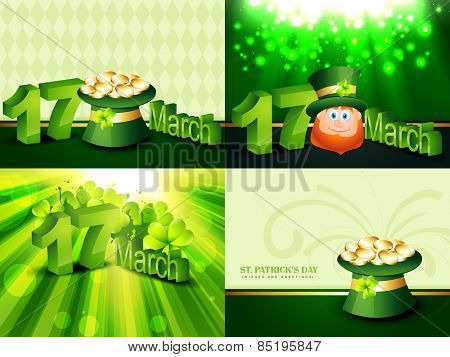 vector creative set of st. patrick's  day background illustration with gold coin hat and  leprechaun cartoon