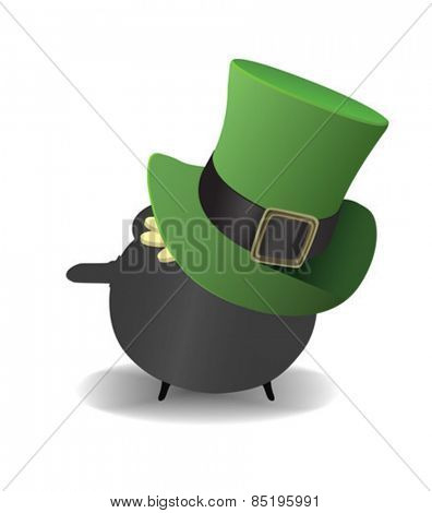 Digitally generated Pot of gold wearing a top hat