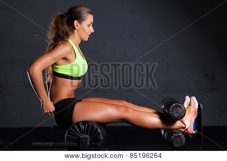 Portrait of young adult sporty attractive sexy and sensuality beautiful brunette pretty woman at the gym