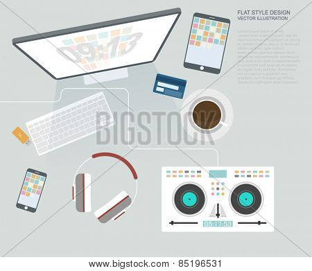 Flat Style Modern Design Concept of Creative Office Workspace. Icons Collection of Business Work Flow Items and Elements, Office Things, Objects and Equipment for Workplace musician dj