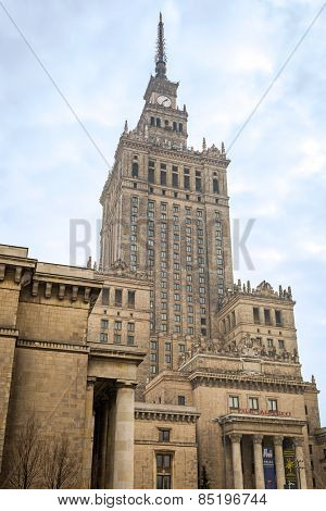 WARSAW, POLAND - 28 FEBRUARY 2014: The Palace of Culture and Science in the city center of Warsaw, Poland. The Palace of Culture and Science with 231 meters is the tallest building in Poland.