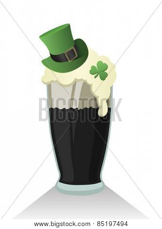Digitally generated St patricks day vector with pint of stout