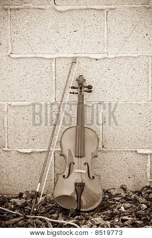 Violin On Brick Wall