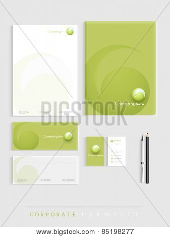 Beautiful corporate identity kit presentation includes Letterhead, File Folder, Envelopes and Visiting Cards in green and white color.