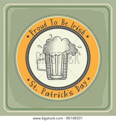 Vintage sticker, tag or label design with beer mug for St. Patrick's Day celebration.