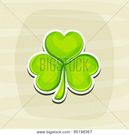 Sticker, tag or label design with Irish lucky clover leaf for Happy St. Patrick's Day celebration.