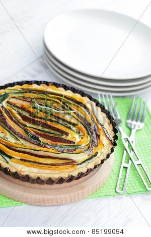 hoemade delicious vegetable tart - food and drink