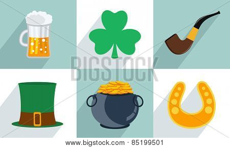 Happy St. Patrick's Day celebration set with beer, clover leaf, smoking pipe, leprechauns hat,  earthenware and horseshoe.