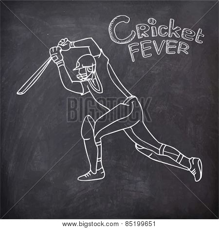 Young batsman in playing action with text Cricket Fever created by white chalk on chalkboard background.