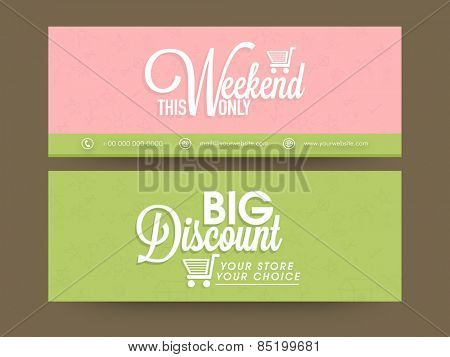 Sale website header or banner set with big discount offer.