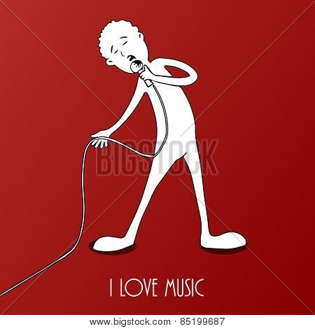 Illustration of a boy singing a song in microphone with text I Love Music on red background.