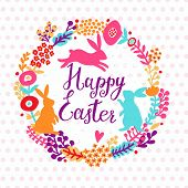 picture of wild-rabbit  - Lovely happy easter card in bright spring colors - JPG