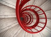 pic of balustrade  - Spiral wood stairs with red painted balustrade - JPG