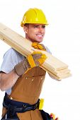 picture of handyman  - Professional handyman with construction tools - JPG
