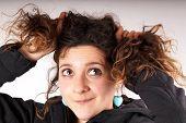 stock photo of jock  - Studio shot of a jocking young woman - JPG
