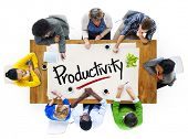 stock photo of productivity  - People in a Meeting and Single Word Productivity Concept - JPG