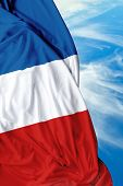 stock photo of french curves  - French waving flag on a beautiful day - JPG