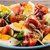 picture of smoked ham  - Boiled eggs with smoked ham and vegetables - JPG
