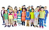 stock photo of friendship  - Ethnicity Diversity Group of Kids Friendship Cheerful Concept - JPG