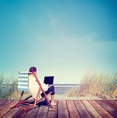 picture of telecommuting  - Businessman Working Summer Beach Relaxation Concept - JPG