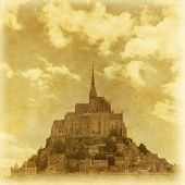 stock photo of mont saint michel  - Old style photo of Mont Saint Michel - JPG