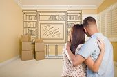foto of shelving unit  - Hugging Military Couple In Empty Room with Shelf Design Drawing on Wall - JPG