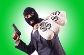 image of gangster  - Gangster with bags of money on white - JPG