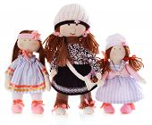 image of rag-doll  - Handmade dolls isolated on white - JPG