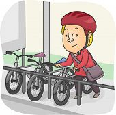 image of parking lot  - Illustration of a Man Parking His Bicycle in the Designated Parking Lot - JPG