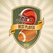 foto of football helmet  - American football badge with a helmet and a leather ball placed on a shield - JPG
