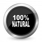stock photo of 100 percent  - natural black icon 100 percent natural sign  - JPG