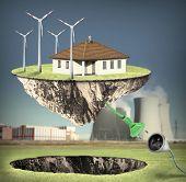 stock photo of nuclear family  - Energy island - JPG