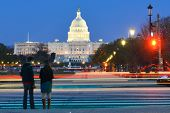 pic of foreground  - Washington DC - US Capitol Building with car lights trails foreground at night  - JPG