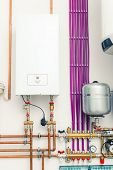 stock photo of boiler  - independent heating system with boiler - JPG
