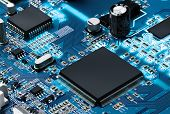 image of processor  - Electronic circuit board with processor - JPG