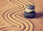 stock photo of tranquil  - Vintage retro effect filtered hipster style image of Japanese Zen stone garden  - JPG