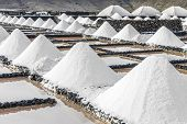 image of salt mine  - salt piles in the saline of Janubio in Lanzarote - JPG