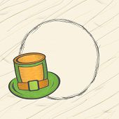 picture of leprechaun hat  - Blank frame with stylish leprechauns hat for Happy St - JPG
