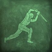 image of cricket shots  - Young batsman ready to hit the shot on green chalkboard background for Cricket sports concept - JPG