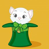 foto of leprechaun hat  - Cute cat in leprechaun hat on yellow background for Happy St - JPG
