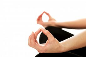 stock photo of ohm  - Female hands in ohm yoga pose - JPG
