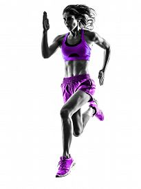 foto of jogger  - one caucasian woman runner running jogger jogging  in studio silhouette isolated on white background - JPG